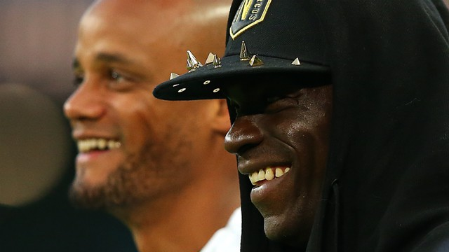 ALL SMILES: Mario Balotelli shares a few laughs with his old captain