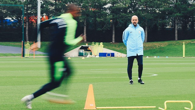 WATCHING BRIEF: Pep Guardiola casts a careful eye over proceedings