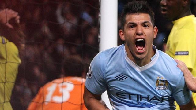 Aguero Celebrates Villareal Goal