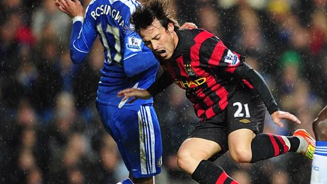 Silva Down During Tackle