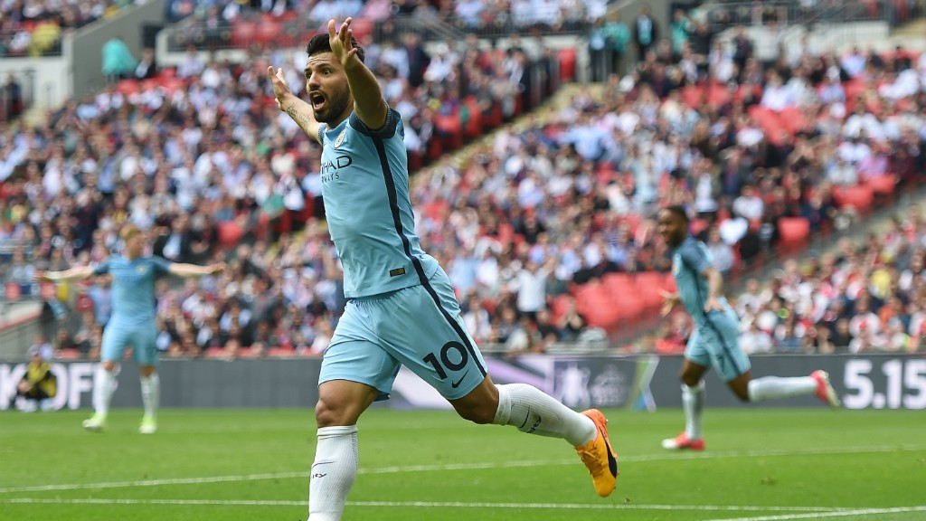 DENIED: Aguero heads off to celebrate only to see his goal disallowed.