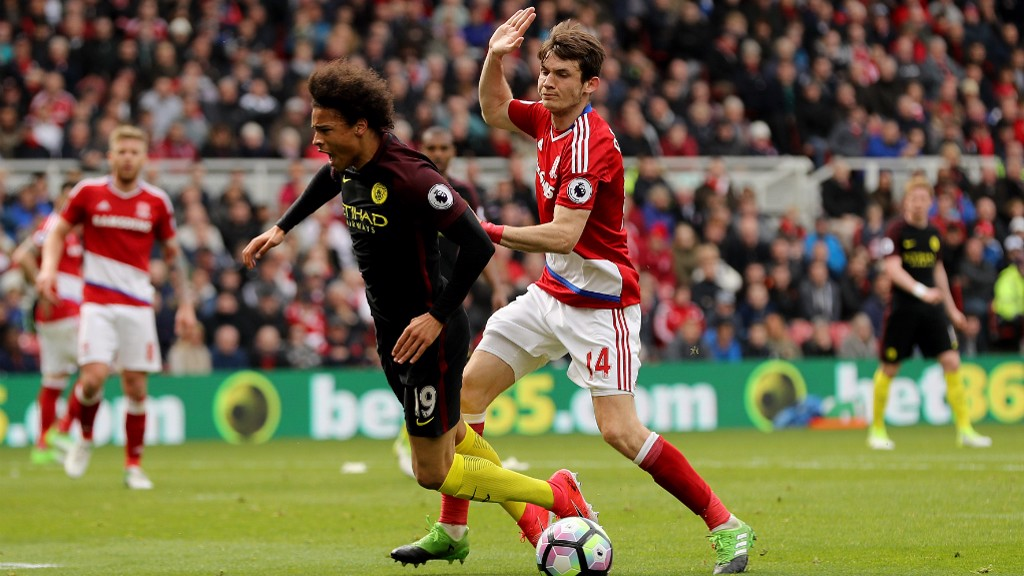 TOO HOT TO HANDLE : Sane wins City a penalty after being  challenged by Marten De Boon