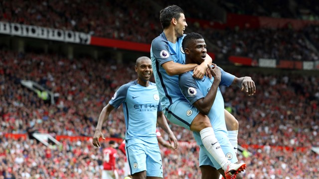 ALL SMILES: Fernandinho, Nolito and Iheanacho after the second goal
