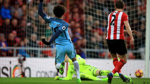 SECOND GOAL: Leroy Sane watches on as his low strike hits the back of the net to make it 2-0.