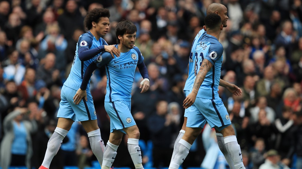 PERFECT START: Silva celebrates with his team-mates after breaking the deadlock inside two minutes.