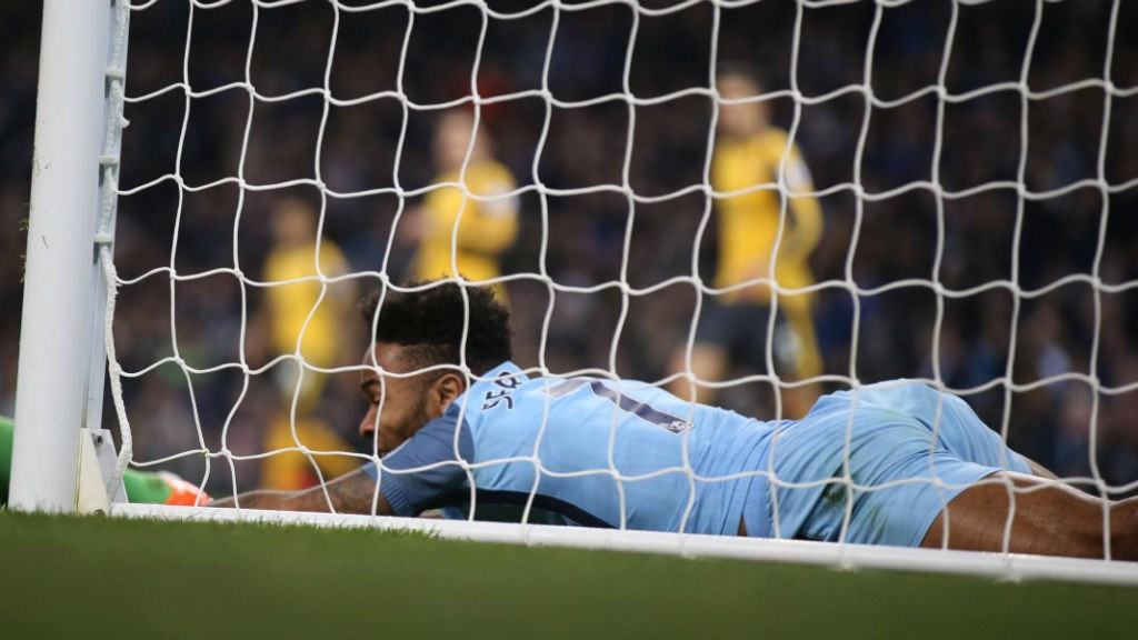 FLOORED: Raheem Sterling after an early missed chance