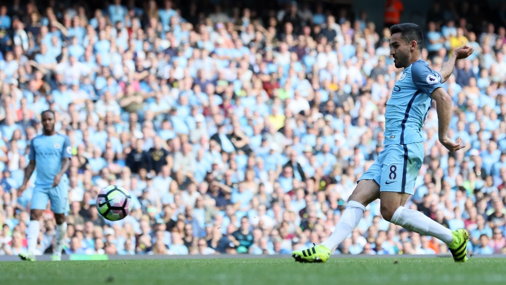 NUMBER FOUR!: Ilkay Gundogan struck in the 66th minute to establish a four-goal lead!