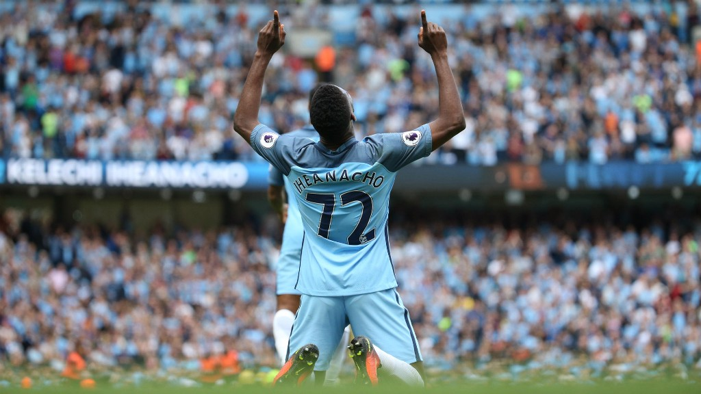 TRADEMARK: Kelechi's celebration is becoming a regular occurrence these days as he continues his fine form!