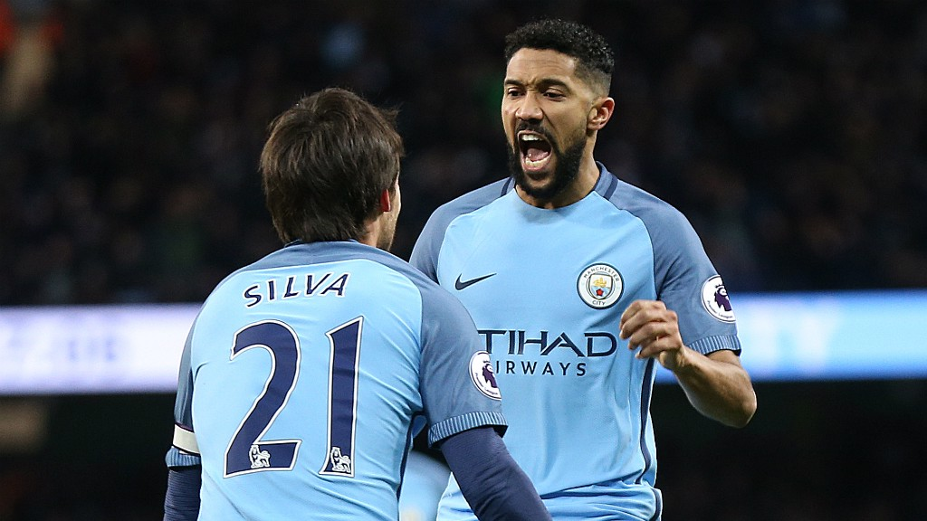 GAEL FORCE: David Silva congratulates Gael Clichy