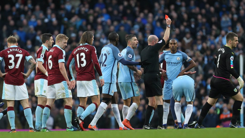 RED CARD: Fernandinho is sent off for a challenge on Johann Berg Gudmundsson