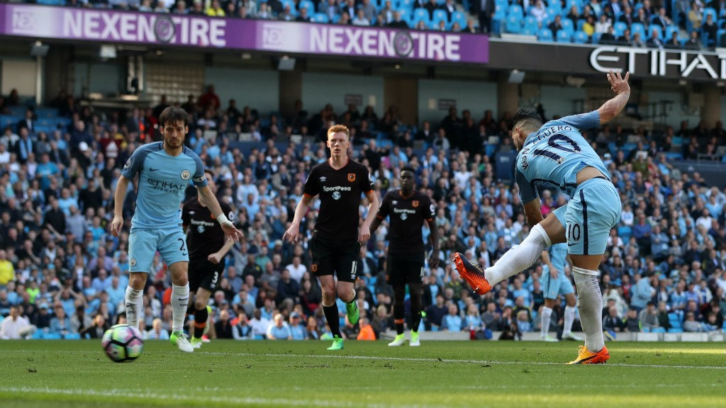 SERGIO STRIKES: Aguero notches City's second goal of the game from close range.