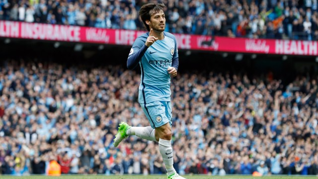 SUPER SILVA: Our number 21 pictured moments after giving the Blues the lead.