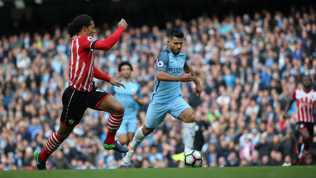 WORKING HARD: Aguero was up against one of the strongest defences in the Premier League