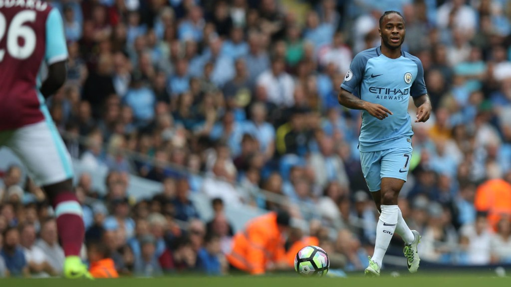 STRIDING FORWARD: Raheem Sterling assesses his options
