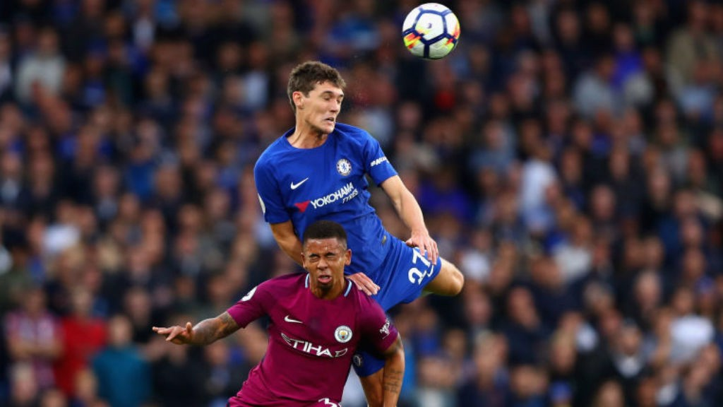 OUCH: Gabriel Jesus comes under pressure from Andreas Christensen