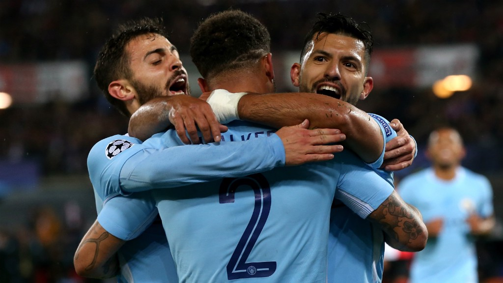 WALKER WONDERLAND: Sergio Aguero thanks Kyle Walker for the assist
