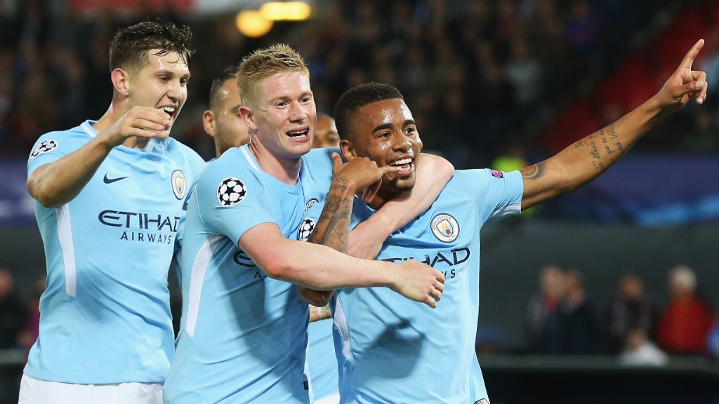 DELIGHT: John Stones and Kevin De Bruyne join in the fun