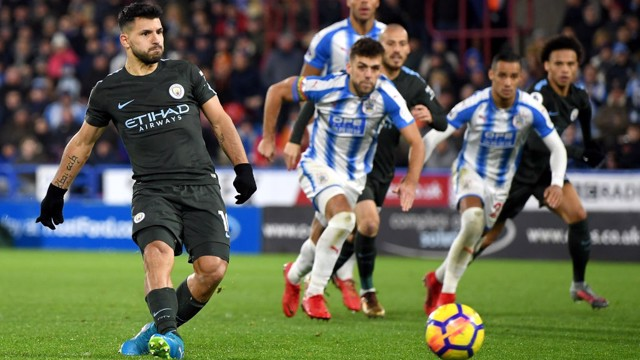 ONE HUNDRED AND EIGHTY: Sergio Agüero hits the bullseye to restore parity in West Yorkshire.