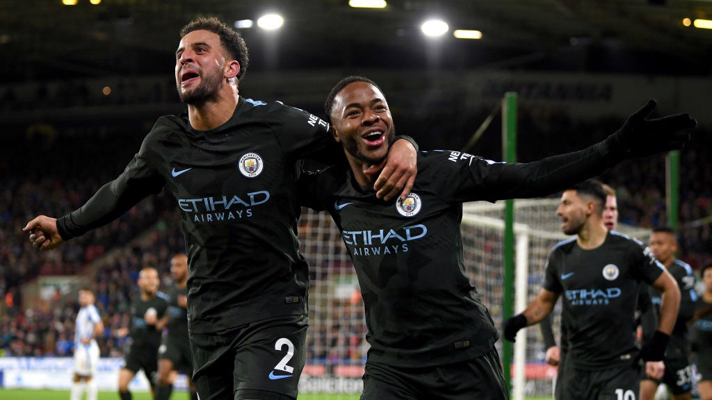 RAHEEM TO THE RESCUE: City's number 7 celebrates scoring his 12th of the season to put City ahead.