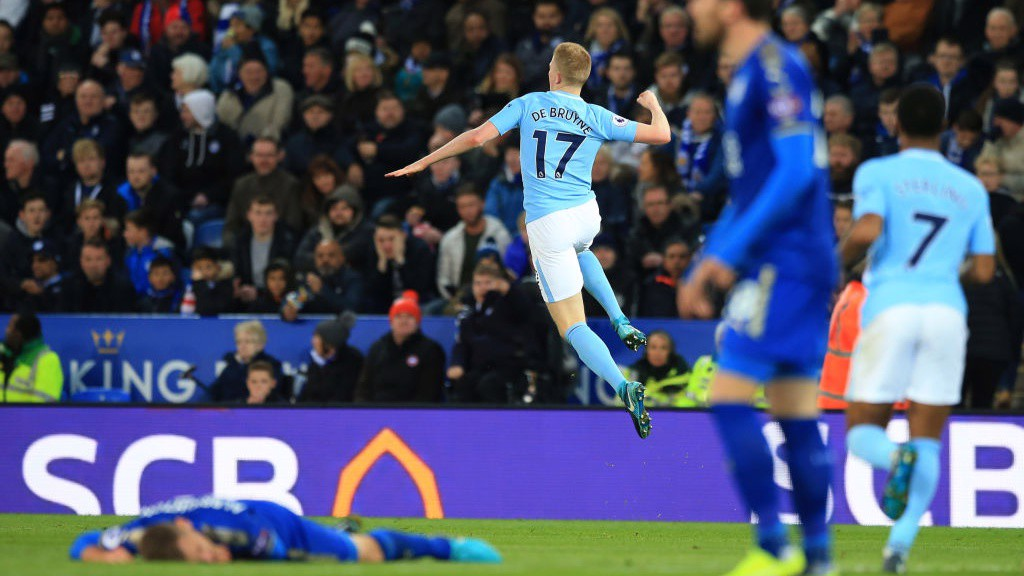 KING KEV: De Bruyne celebrates his screamer at the King Power.