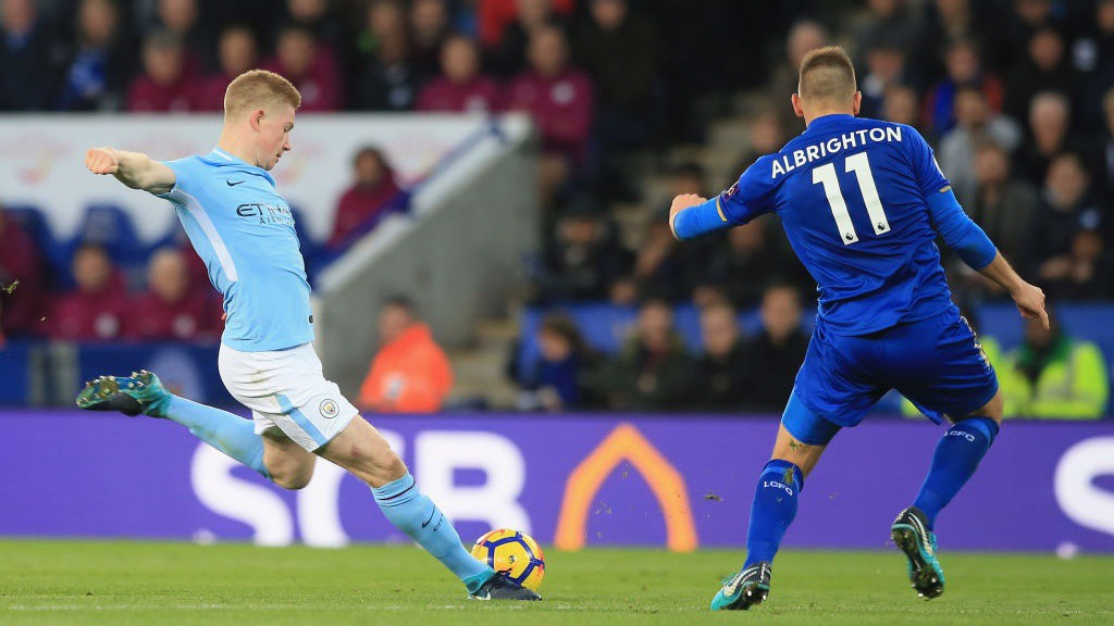 ROCKET: Kevin De Bruyne's fearsome strike leaves Leicester's Kasper Schmeichel with no chance.