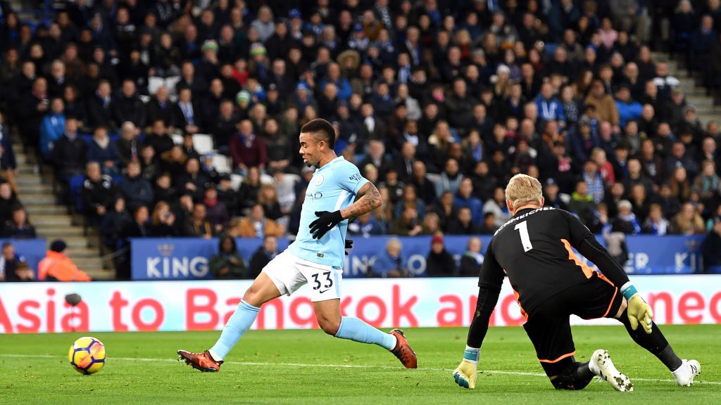 DEADLOCK BROKEN: Gabriel Jesus puts the finishing touch to a sublime City move just before the break.