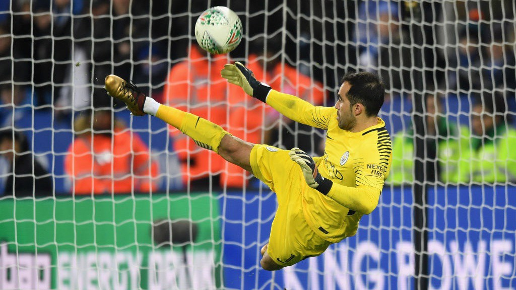 SHOOT OUT HERO: Claudio Bravo keeps out Riyad Mahrez to send City through to the semi-finals of the Carabao Cup!