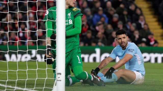​CLOSE: Sergio Agüero looks on after going inches from converting Kevin De Bruyne's cross.