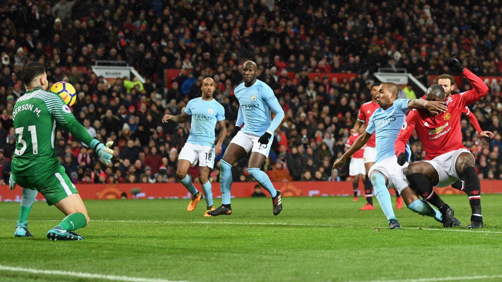 WHAT A SAVE: Ederson produces a sublime double-save to keep United at bay.