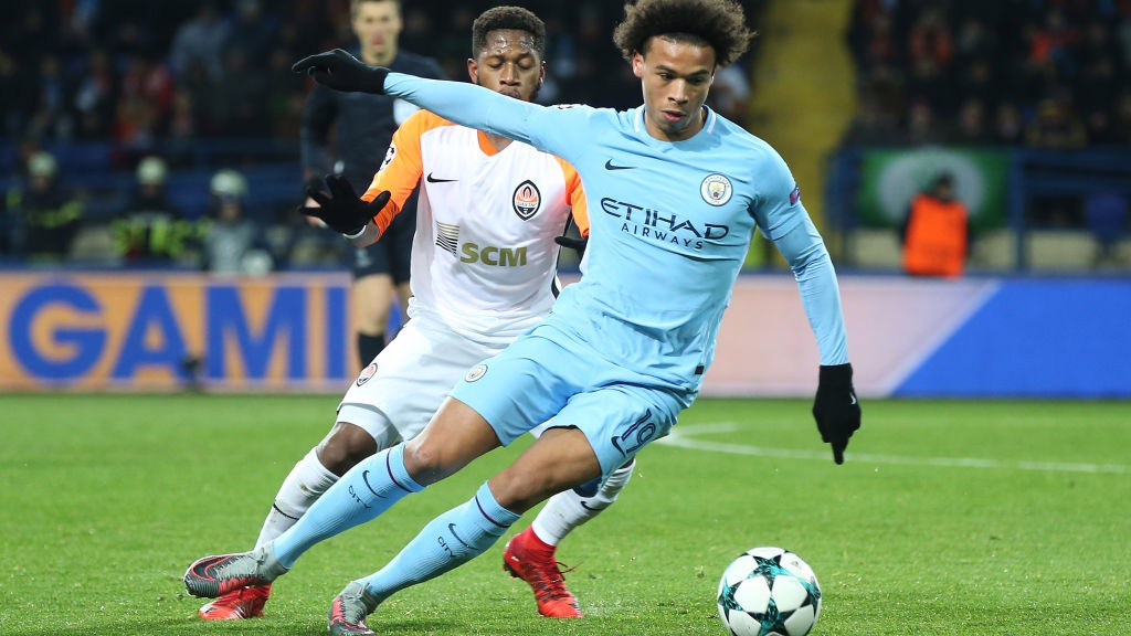 ON THE TURN: Leroy Sané drops a shoulder to beat his marker.