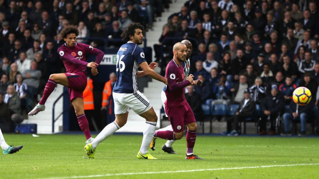 ON FIRE: Leroy Sané opens the scoring with his eight goal of the season.
