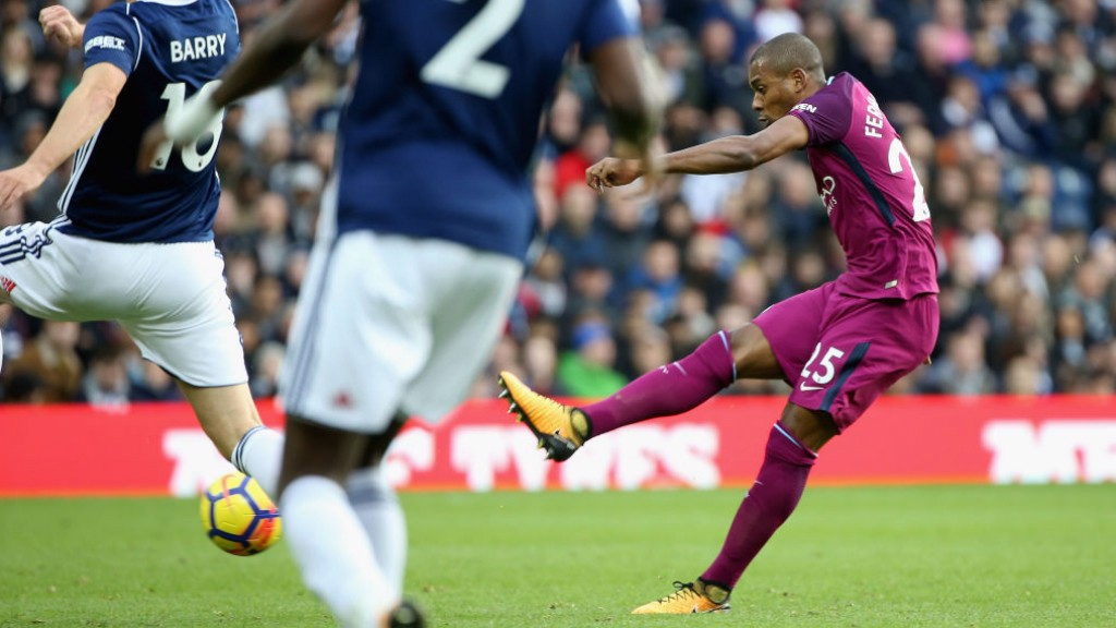 THUNDERBOLT: Fernandinho hands City the lead again with a strike from distance.