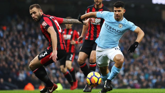 ​PROBING: Sergio Agüero looks to pierce Bournemouth's defensive line.