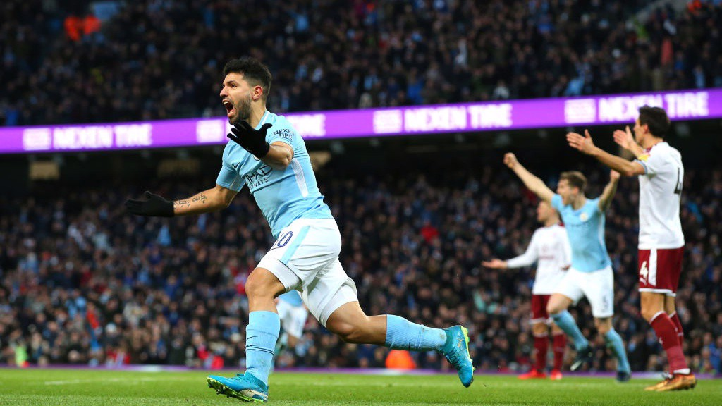 DELIGHT: Sergio Agüero celebrates scoring the equaliser.