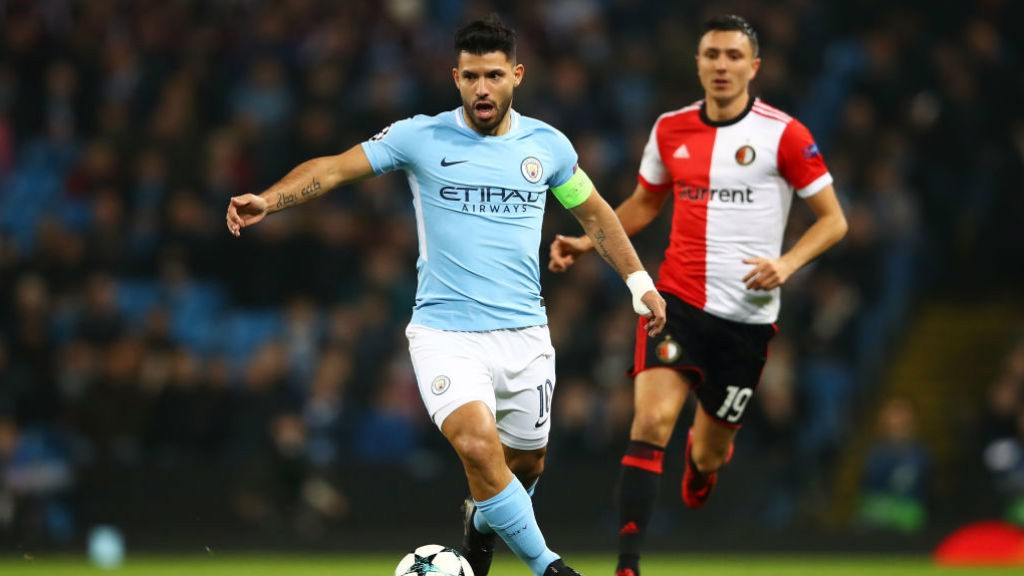 SUPER SERGIO: Aguero in action against the Dutch champions