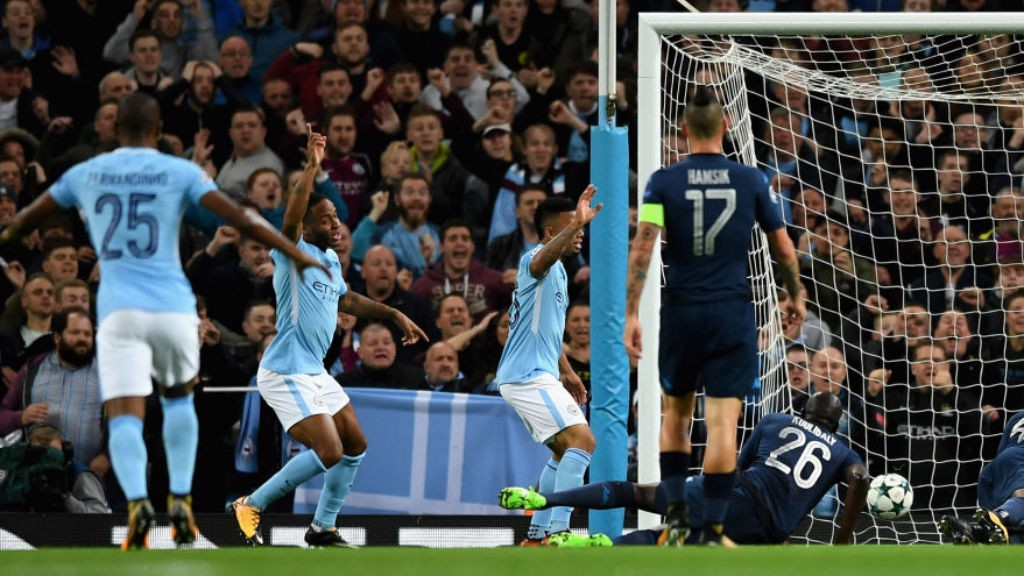 STRIKE ONE: Raheem Sterling fires City into an early lead