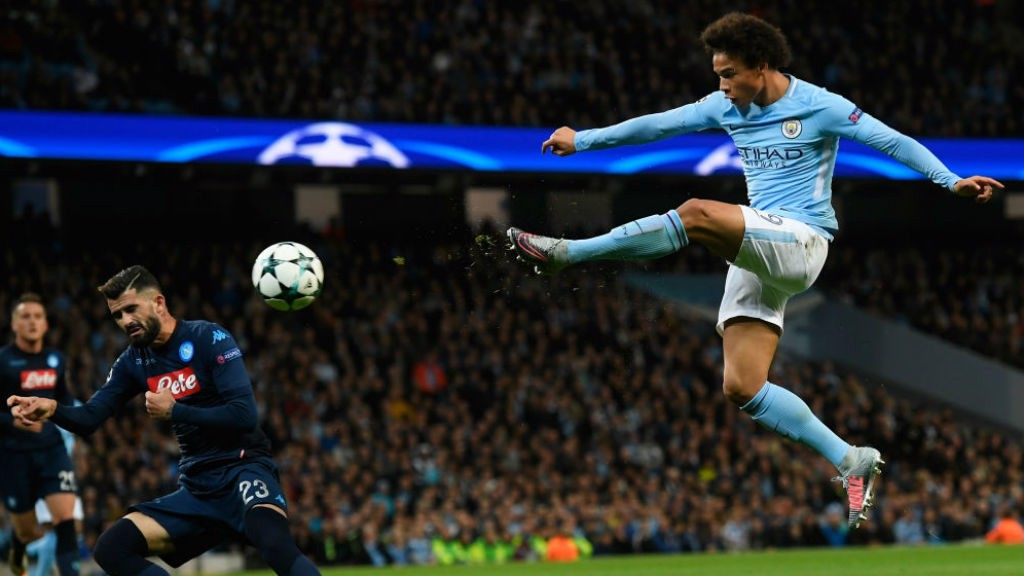 TAKE THAT: Leroy Sane lets fly at the Napoli goal
