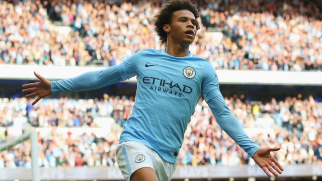 SIX APPEAL: Leroy Sane wheels away in triumph after his goal made it 6-2