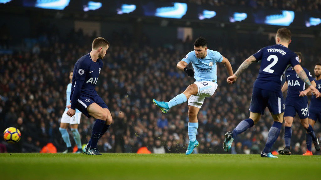 SHARP SHOOTER: Sergio Agüero unleashes a strike that fires just wide.
