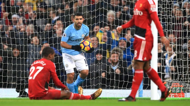 OG: City's second comes as Watford defender Christian Kabasele puts through his own net.