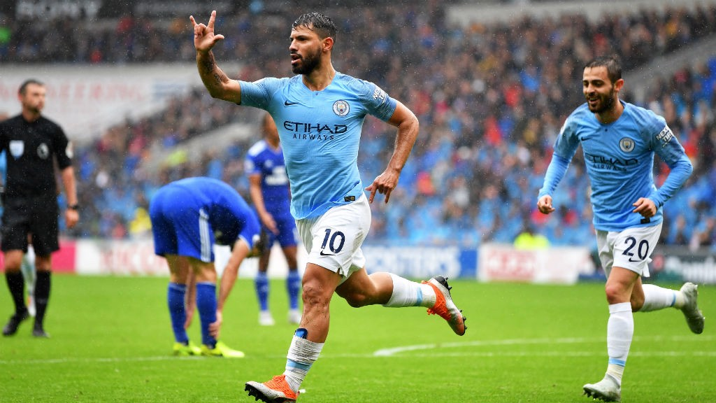 ON TARGET: Sergio Aguero celebrates City's first goal