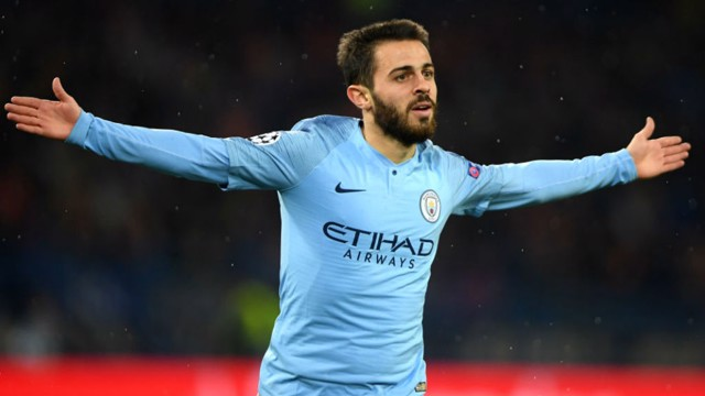 SUDDEN IMPACT: Bernardo Silva celebrates after scoring less than a minute after coming on as a substitute