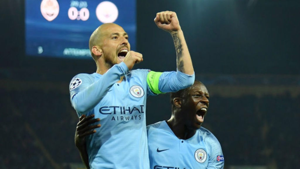 JUST CHAMPION: David Silva celebrates his stunning goal with Benjamin Mendy