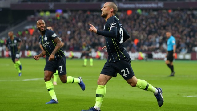 SILVA STREAK: David Silva celebrates after scoring his fourth goal in as many games