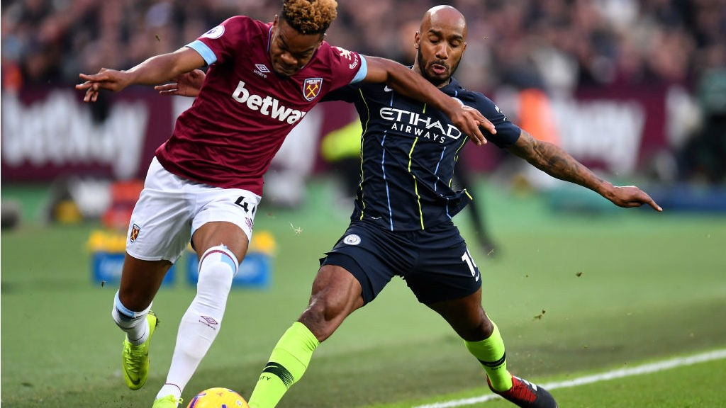 NO ENTRY: Fabian Delph blocks a West Ham attack