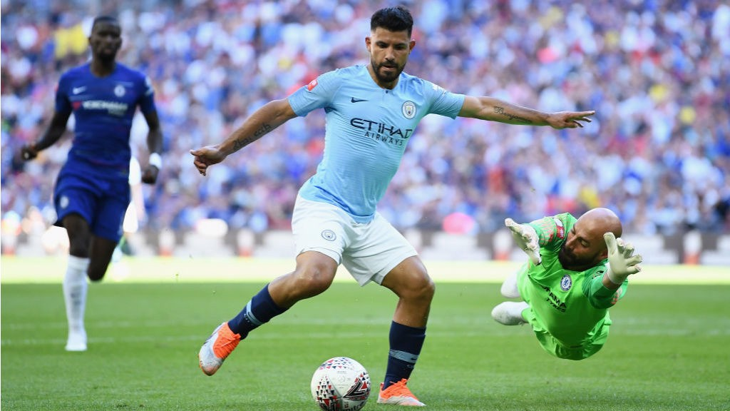 SO CLOSE: Sergio Aguero beats Willy Caballero but is just off target on this occasion