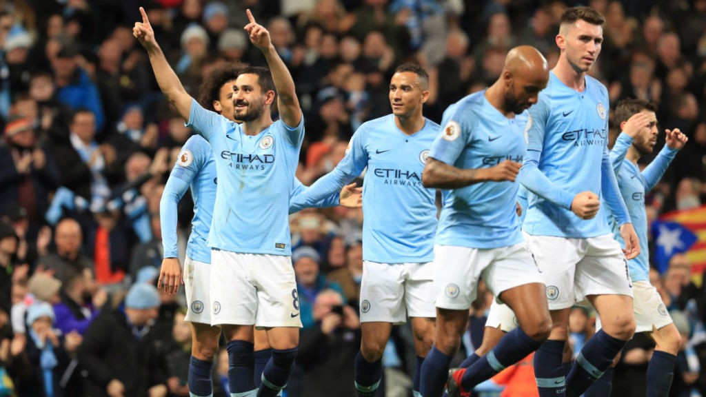 THREE AND EASY: Gundogan produced a fine finish for City's third