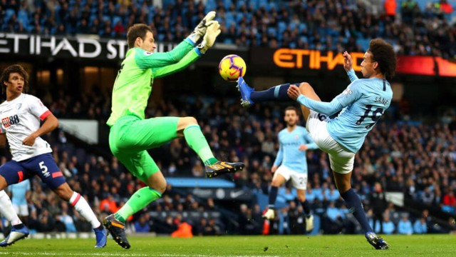 IN SANE: Leroy tries a lob over Begovic