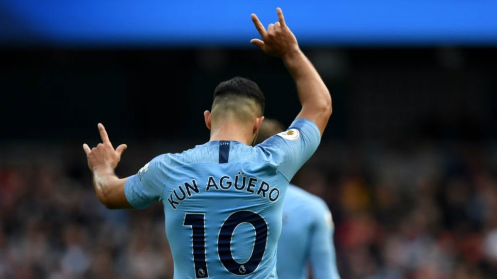 PERFECT TEN: Sergio Aguero celebrates after his first half goal