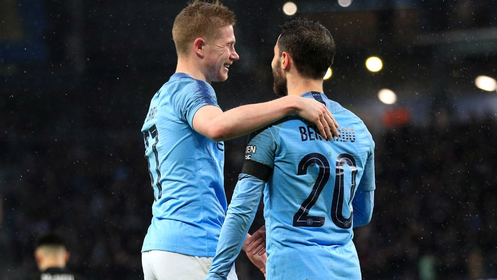 DOUBLE TROUBLE: KDB and Bernardo celebrate City's second.